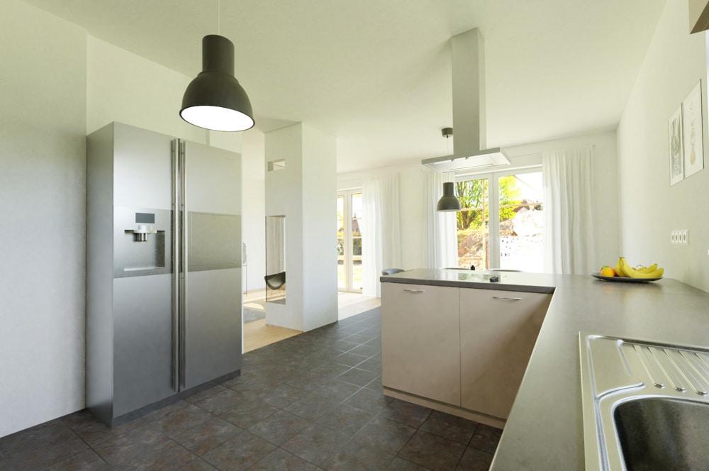 Küche und Esszimmer - Visualisierung, Einrichtungsbeispiel