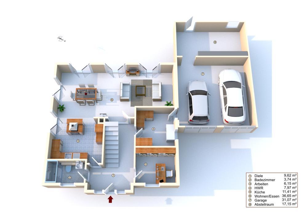 Grundriss Erdgeschoss mit Einrichtungsbeispielen