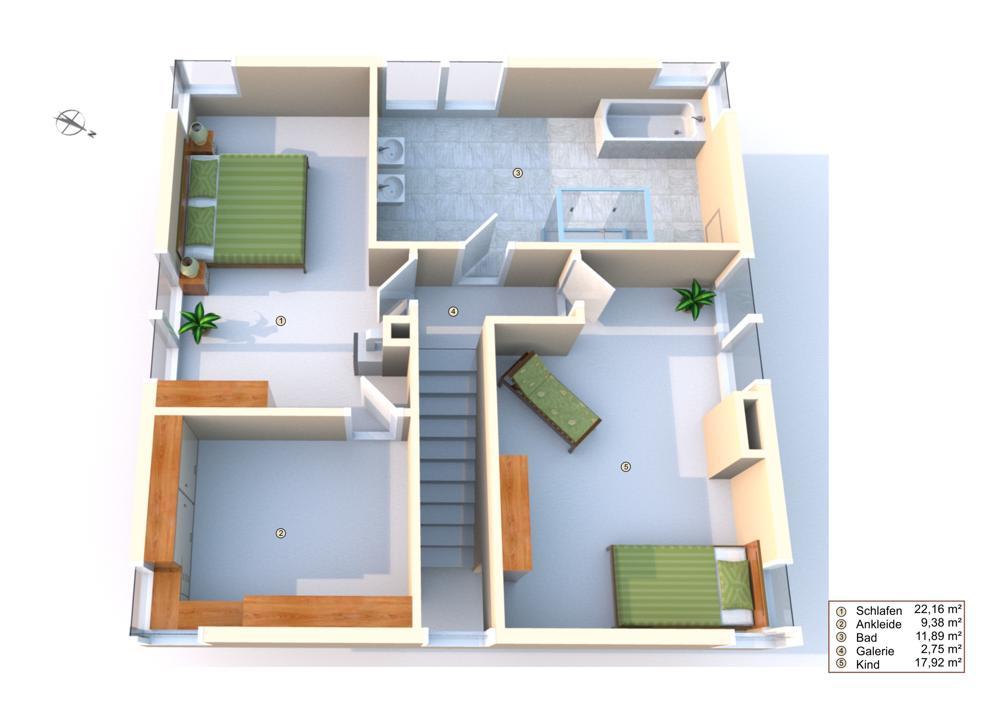 Grundriss Obergeschoss mit Einrichtungsbeispielen