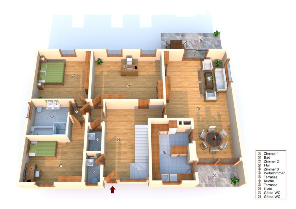 Grundriss Erdgeschoss (nicht maßstabsgetreu - mit Einrichtungsbeispielen)