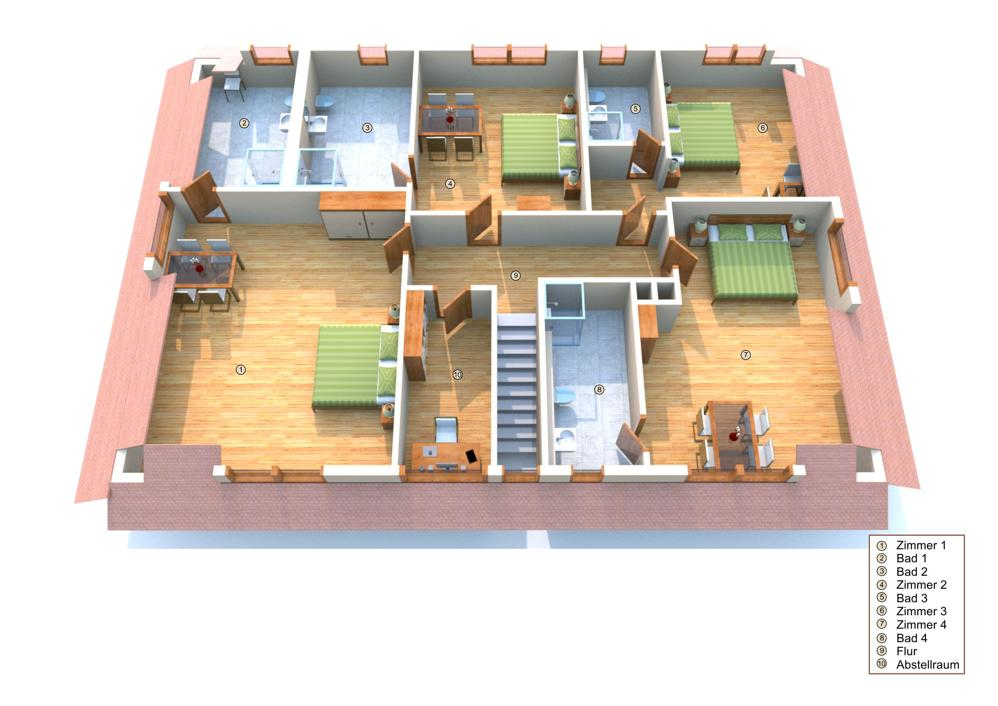 Grundriss Obergeschoss (nicht maßstabsgetreu - mit Einrichtungsbeispielen)
